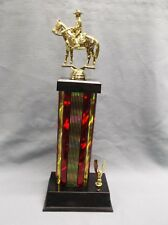 western horse trophy male rider red column wide black base eagle trim