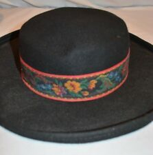 Vintage Hat Ballman Bowler Style Costume Theater 100% Wool Felt Tapestry Band
