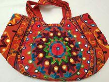 Hand Bag Large Multi colored Wool Thread Embroidery Shoulder Bag Summer Festival