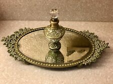 Jeweled Vanity Mirror Tray Set Perfume Two's Company Green Flowers Rhinestones