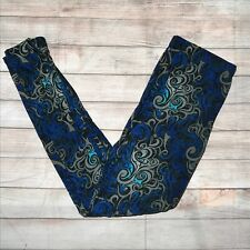 Blue & Grey Swirl Abstract Design Women's Leggings PS Plus Size TC 12-20