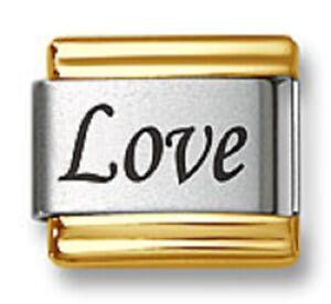 Italian Charm Bracelet Link Laser Word Love Gold Trim 9mm Stainless Steel