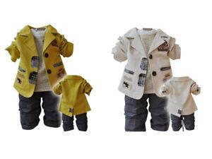 Kids Baby Boys Suit+Shirt+Long Pants 3PCS suits set outfits Coat Jacket clothing