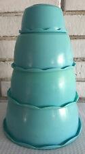 Vintage Blisscraft of Hollywood Turquoise Nesting Bowls Set 4 USA 3 1/2-7 1/4