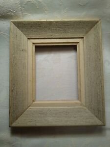 """Vintage Rustic Solid Wood 4 x 5"""" Picture Frame, White Natural Wood Texture"""