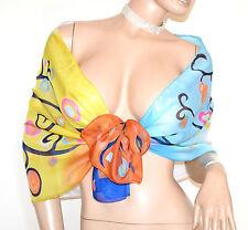 STOLA foulard azzurro giallo blu ocra coprispalle velato fantasia colorata A44