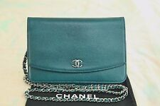 VERIFIED Authentic Chanel Teal Caviar Leather WOC Wallet On A Chain Bag