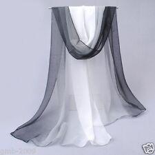 New Women's Black White Gradient Color Long Chiffon Thin Shawl Wrap Stole Scarf