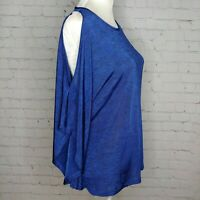 Joseph Ribkoff Womens Blue Cold Shoulder Top Size Medium Stretch Dolman NWT