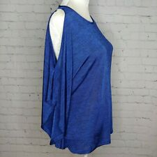 Joseph Ribkoff Womens Blue Cold Shoulder Top Size Medium Dolman Stretch NWT