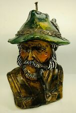 Vtg. Wax Candle Sculpture Old Man Smoking Pipe With Beard And Hat Nautical 1977