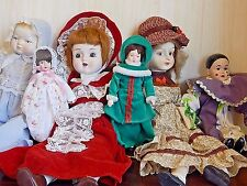 """Lot of 6 Painted Bisque/Porcelain Dolls, 18"""" - 7.5"""", Good Condition"""