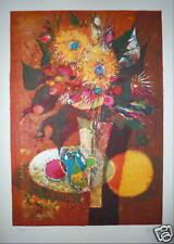 Margotton René Lithographie signée numérotée composition aux fleurs