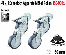 4 x 75mm Rückenloch Lenkrollen Transport Möbelrollen ISO 9001 Germany RL Br-Le