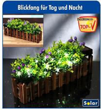Blumenkasten LED Solar Pflanzkasten Lichterkette Solarlampe Holz Braun Blumen