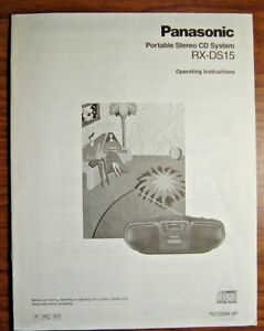 Vintage PANASONIC RX-DS15 User Manual Operating Instructions OEM Stereo CD Sys.