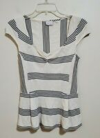 Anthropologie Postmark Black White Striped Peplum Hem Shirt Top Blouse Size XS