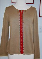 SIGRID OLSEN Green Long Sleeve Tie up Front Cotton Top