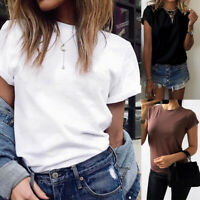 Fashion Women T-shirt Solid Color Short Sleeve Tee Tops Plus Size Men Casual