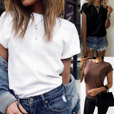 Fashion Women T-shirt Solid Color Short Sleeve Tee Tops Plus Size  Casual