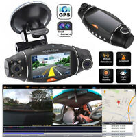 GPS Dual Lens Vehicle Car DVR Dash Cam Rear Video Camera Recorder Night Vision