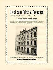 Hotel Prinz von Preussen Stargard XL Reklame 1924 Werbung Pommern Inh Seumnich +