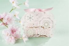 50PCS Happy Wedding Party Candy Box Laser Cut Favors Gift Paper Bag Box Ribbon