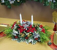 Artificial Christmas Table Centrepiece Poinsettias Roses Berries Holly Xmas Ivy2