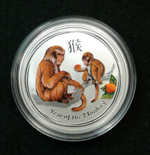 2016 1/2 oz .999 Fine Silver Australia Year of the Monkey Colorized