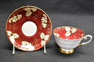 Tuscan Cup & Saucer C8787 Red Maroon Gold Cream Leaves