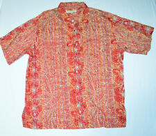 Red Orange NORM THOMPSON Floral Hawaiian Short Sleeve Buttondown Shirt 2XL