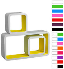 Wall Shelves Floating Wall Mounted Shelf MDF Set of 3 Cube Yellow URG9229gb