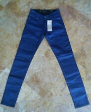 NWT Levis Demi Curve Modern Rise Skinny Jeans Metallic Wet Look, Blue, 24