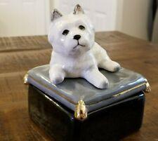 Vtg Takahashi Mcm Westie West Highland White Terrier Dog Jewelry Box Figurine