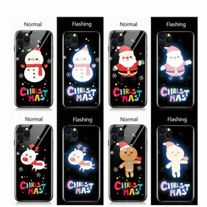 Cover For iPhone 11 XR Creative LED Flashing Christmas Santa Tempered Glass Case