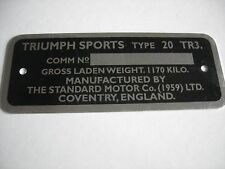 TRIUMPH TR3 TR3A COMMISSION NUMBER PLATE  1170 KILO MADE IN THE UK