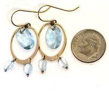 14k yellow gold blue topaz dangle hoop earrings 3.5g womens ladies vintage