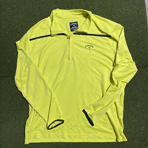 Callaway Golf Jacket Mens 2XL Long Sleeve Yellow Weather Series 1/2 Half Zip