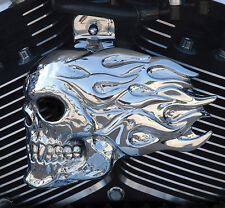 Flaming skull horn cover in show chrome.  '92-up Harley-Davidson. FSC-2