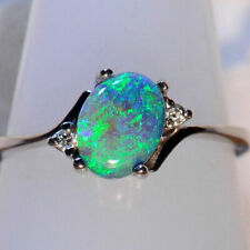 Opal Silver Gemstone Ring 925 2.3Ct Vintage Party Engagement  Wedding Fire Women