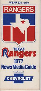 1977 Texas Rangers  Press/Radio/Tv Media Gude