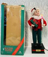 "24"" Holiday Creations Animated Holiday Figure Noel Vintage Rare Moving Arm Head"