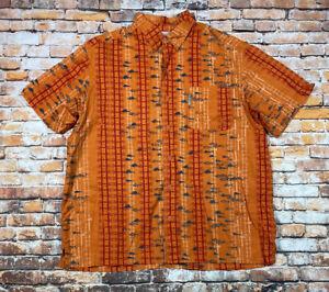 Columbia PFG Vented Short Sleeve Shirt Men's L 100% Cotton Orange Fish Print