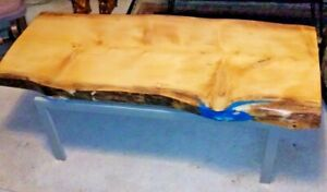 Live Edge Beautiful Rare Ky Norfolk Pine epoxy river wood slab table