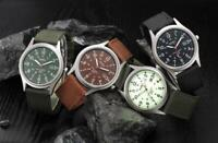 Men's Military Army Date Watch Canvas Band Stainless Steel Quartz Wrist Watch