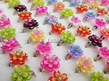 Wholesale Lots 50pcs Mixed Color Resin Flower CZ  Kid/Girl's Rings Adjustable