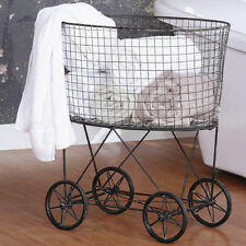 French Laundry Basket Vintage Cart With Wheels Primitive Country Farm Decor S