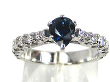 Blue Sapphire Ring Solitaire 14K White Gold Natural Ceylon Heirloom Free
