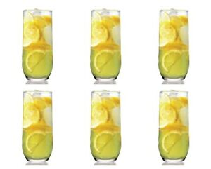 Lav Sude Highball Drinking Glasses Set. (Pack of 6) Water Juice Tableware Glass.