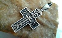 "ANTIQUE or VINTAGE STERLING SILVER ""925"" ORTHODOX ""OLD BELIEVERS"" CROSS PSALM 68"